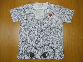 COMME des GARCONS LIFE IN HELL PLAY SERIES MENS TEE AZ T146 SML