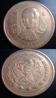 MEXICO $1000 Pesos Beutifil Coin Juana De Asbaje 1989