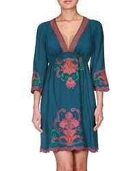 Western Design Turquoise Flying Tomato Embroidered Babydoll Cowgirl
