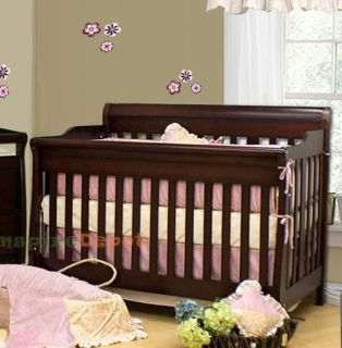 in 1 ASPEN SOLID WOOD CHERRY CONVERTIBLE BABY CRIB TODDLER RAIL