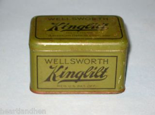 Vintage Wellsworth Kingbilt American Optical Co. Tin Box