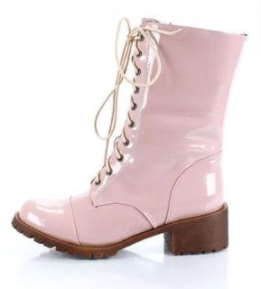 PINK PATENT COMBAT/MILITARY BOOTS MARTIN WOMENS SHOES