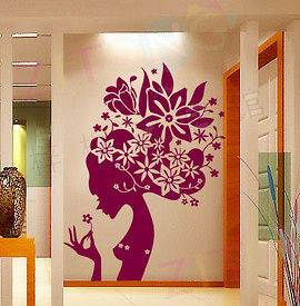 Flower Girl Mural Art Wall Stickers Vinyl Decal Home Room Decor Purple
