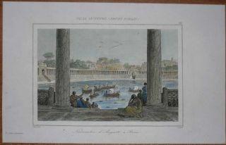 1851 print NAUMACHIA OF AUGUSTUS, ANCIENT ROME (#118)