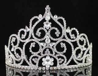 MAGNIFICIENT AUSTRIAN RHINESTONE CRYSTAL CROWN TIARA W/ COMBS PAGEANT