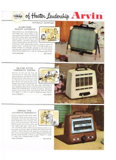 1957 ADVERTISEMENT ARVIN ELECTRIC HEATERS, RADIANT, THERMOSTAT CONTROL