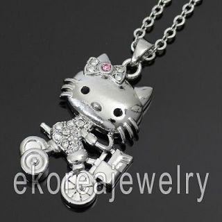 Made in KOREA   Austrian Crystal Vivid Hello Kitty on Bike Necklace