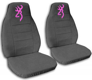 cute CAR SEAT COVERS VELOUR charcoal gray with pink browning
