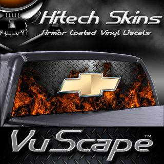 Vuscape Truck Rear Window Graphic   CHEVY FIRE D.PLATE