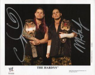 MATT & JEFF HARDY BOYZ WITH TAG BELTS SIGNED P1164 RARE WWF WWE TNA