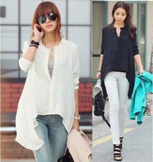 BUTTON DOWN ASYMMETRIC HEM WOMEN SHIRT BLOUSE XS/S BLACK/WHITE