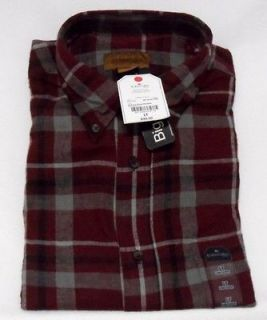 Mens Autumn Burgundy Plaid Flannel Shirt St Johns Bay LT NWT Light