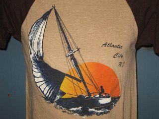 vintage 80s ATLANTIC CITY NJ RAGLAN JERSEY T Shirt XXS surf beach