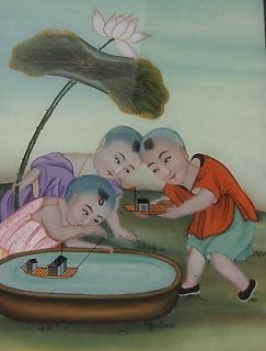 Chinese Reverse painting on glass of Children Playing around a Pond
