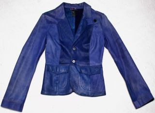 Womens Blue Leather Jacket / Blazer, Button Front, Size S *Awesome