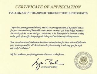 George W. Bush Certificate of Appreciation with Raised Seal