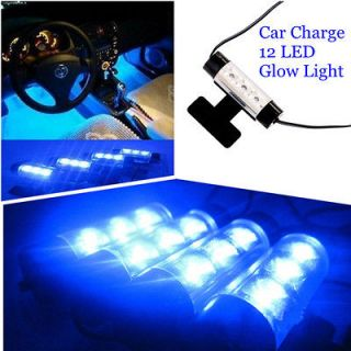 4x 3LED Car Charge Glow Interior Light Decorative Footwell Neon Lamp