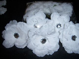 lot 12 gerber daisy FLOWER peony CRAFTS bouquet HAIR bridal tutu WHITE