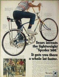 Spyder 500 Banana Seat~Cheater Slick Bike/Bicycle 10 Speed Print AD