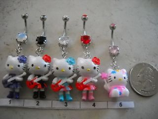 Choice of 1 Double Gem Hello Kitty Belly Ring 14g
