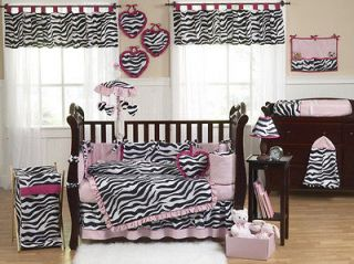 BLACK WHITE PINK ZEBRA 9pc BABY GIRL CRIB COMFORTER BEDDING SET ROOM