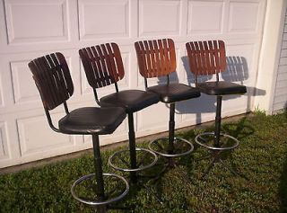 VINTAGE BAR STOOLS (4) SWIVEL WROUGHT IRON CHAIR CORP.
