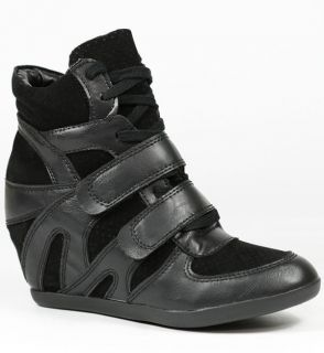 HIGH TOP FASHION SNEAKERS WEDGE ANKLE BOOT BOOTIE WILD DIVA BUBBLE 01