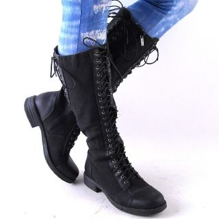 NEW WOMENS BLACK DENIM KNEE HIGH LACEUP COMBAT BOOTS SIZE 10