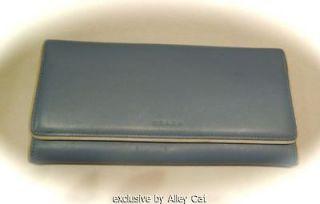 COACH MEDIUM SLATE BLUE CHECKBOOK WALLET CREDIT CARDS COIN BILLS