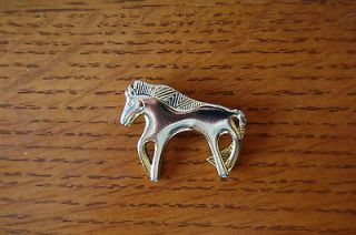 Lovely VTG Laurel Burch Horse Equestrian Animal Brooch Pin Gold Tone