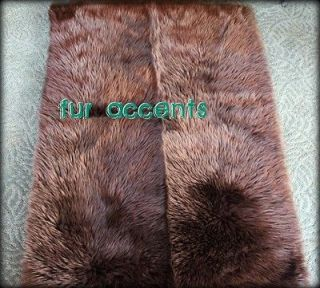 60 Faux Fur Accent Rug Runner Brown Bear Sheepskin Mink Wolf Plush