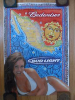 Sexy Girl Beer Poster Budweiser Aztec Sun White Bikini