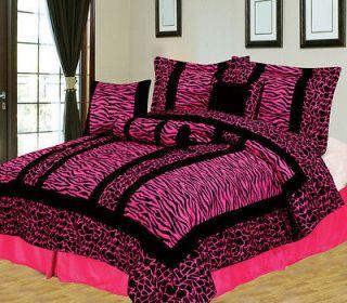 11 Piece King Giraffe/Zebra Pink and Black Micro Fur Bed in a Bag Set