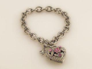 PINK CRYSTAL HEART LOCKET BRACELET SILVER TONE S0530