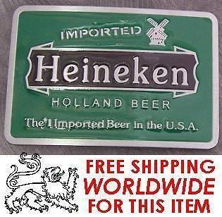 Pewter Belt Buckle novelty Heineken Beer Logo NEW
