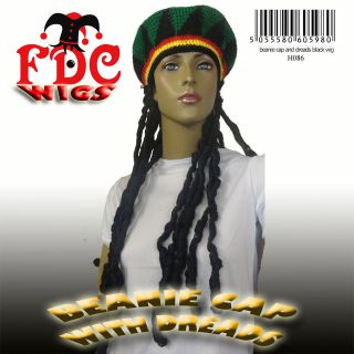 BEANIE CAP WITH DREADLOCKS FDC WIG BOB MARLEY RASTA REGGAE HIPPIE