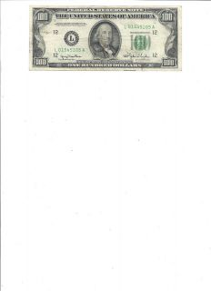 1950 BENJAMIN FRANKLIN 100 DOLLAR BILL FEDERAL NOTE US CURRENCY SMALL