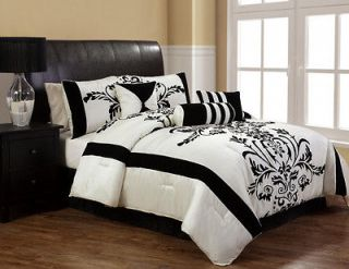 7Pcs Queen Salma Black and White Flocking Comforter Set