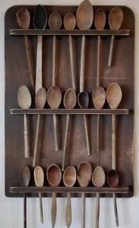 Old Antique Style Wooden Wood Spoon Rack Display Large handmade