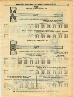 1950 Blue Grass Double Bit Axes Firemans Axe ad