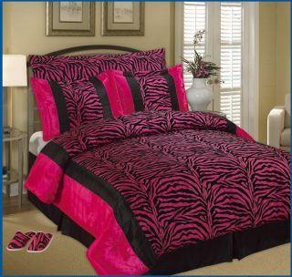 OctoRose (TM) Faux Silk Black / Pink Zebra Printing Comforter Set and