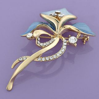 Fashion Jewelry Blue Orchid Shape White Topaz 18k Gold Plated Brooch