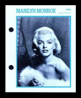 MARILYN MONROE KOBAL COLLECTION MOVIE STAR BIOGRAPHY CARD BY ATLAS