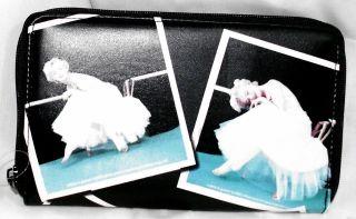 MARILYN MONROE BLACK WALLET W/BALLERINA PHOTOS ZIP AROUND LOTS OF CARD