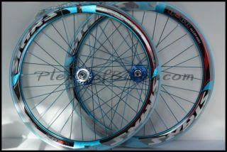 Deep V Fixie Single Speed Bike Wheelset Wheels Rim Rims Blue 614104