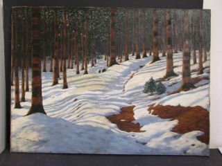 Signed Victor Oil Painting Snow Covered Forest Scene