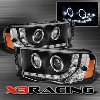 BLACK 02 05 DODGE RAM HALO PROJECTOR DRL LED HEADLIGHTS LAMPS LIGHTS