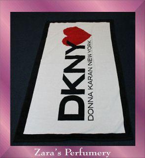 DKNY WHITE,BLACK & RED HEART DESIGN BEACH/BATH/GYM TOWEL
