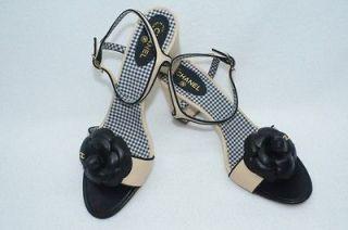 Chanel CC Logo Sandals Beige Heels Shoes Size 40 NIB