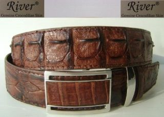 Genuine Crocodile Skin Big Bumps Backbome Skin Mens Leather Belt RIVER